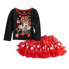 Disney's Minnie Mouse Toddler Girl Glittery 'Bows' Graphic Tee & Ruffle Tutu Skirt Set