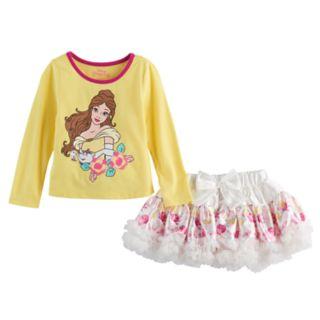 Disney's Beauty & The Beast Belle Toddler Girl Top & Floral Tutu Skort Set