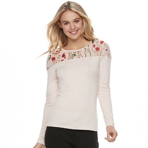 79387636a47 Juniors' Candie's® Embroidered Mesh Yoke Top