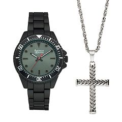 Men's American Exchange Watch & Cross Necklace Set