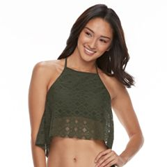 Mix and Match Popover Crochet High Neck Bikini Top