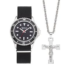 Men's American Exchange Watch & Crucifix Necklace Set