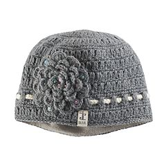 Women's SIJJL Wool Crochet Sequined Flower Beanie