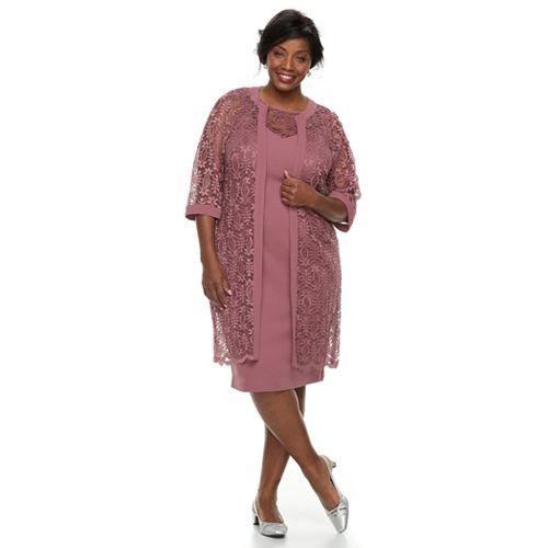 Plus Size Maya Brooke Embroidered Dress Jacket Set