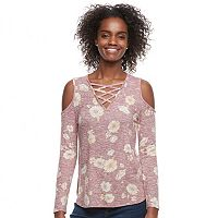 Juniors' Love, Fire Print Lace Up Cold-Shoulder Top