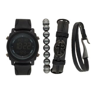 Men's American Exchange Digital Watch & Bracelet Set