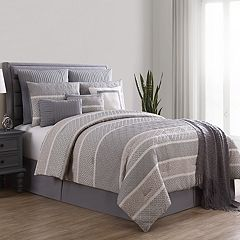 VCNY Geometric Stripe 10 pc Jacquard Comforter Set