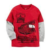 Toddler Boy Carter's Fire Truck Mock Layer Tee