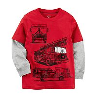 Toddler Boy Carter's Fire Truck Mock Layer Tee