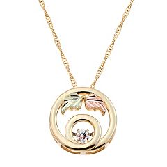 Black Hills Gold Tri Tone 1/10 Carat T.W. Diamond Leaf Circle Pendant
