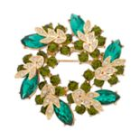 Dana Buchman Green Stone Cluster Wreath Pin