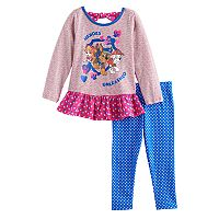 Baby Girl Paw Patrol Skye, Chase & Marshall Ruffled Top & Polka-Dot Leggings Set