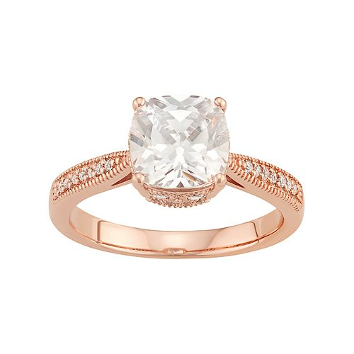 Lily & Lace 14k Rose Gold Plated Cubic Zirconia Cushion Ring