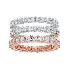 Lily & Lace Two Tone Cubic Zirconia Eternity Ring Set