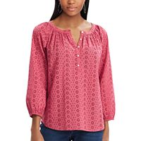 Petite Chaps Eyelet Henley Top