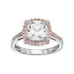 Lily & Lace Pink & White Cubic Zirconia Two Tone Square Halo Ring