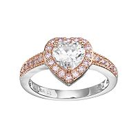 Lily & Lace Pink & White Cubic Zirconia Two Tone Heart Halo Ring