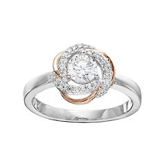 Lily & Lace Cubic Zirconia Two Tone Love Knot Ring