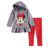 Disney's Minnie Mouse Baby Girl Fleece Lined Ruffled Hoodie & Leggings Set