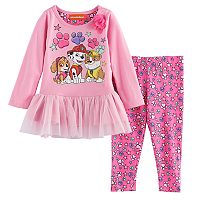Baby Girl Paw Patrol Skye, Marshall & Rubble Skirted Top & Leggings Set