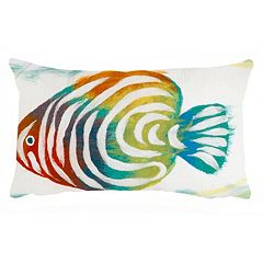 Liora Manne Visions III Rainbow Fish Indoor Outdoor Oblong Throw Pillow