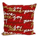 Liora Manne Visions III ''Peace, Love, Joy'' Indoor Outdoor Throw Pillow