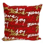 Liora Manne Visions III ''Peace, Love, Joy'' Indoor Outdoor Throw Pillow