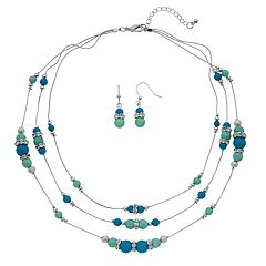 Simulated Turquoise Multi Strand Necklace & Drop Earring Set