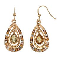 Simulated Crystal Teardrop Nickel Free Drop Earrings