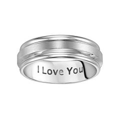 Lovemark Stainless Steel I Love You Men's Wedding Band