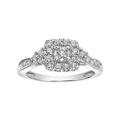 Lovemark 10k White Gold 5/8 Carat T.W. Diamond Square Halo Engagement Ring