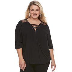 Plus Size Rock & Republic® Lace-Up Top