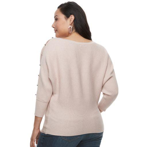 Plus Size Jennifer Lopez Ribbed Dolman Sweater