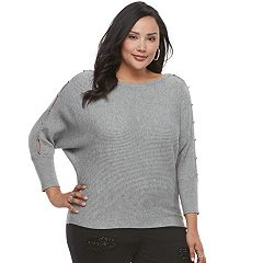 Plus Size Jennifer Lopez Ribbed Dolman Sweater