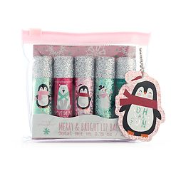 Simple Pleasures 5 pc Merry & Bright Penguin Lip Balm Set