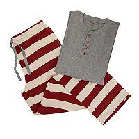 Men's Burt's Bees Organic Holiday Henley Top & Patterned Pants Family Pajama Set