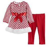 Baby Girl Bonnie Jean Striped Santa Dress & Leggings Set