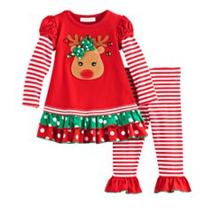 Baby Girl Bonnie Jean Reindeer Top & Legging Set