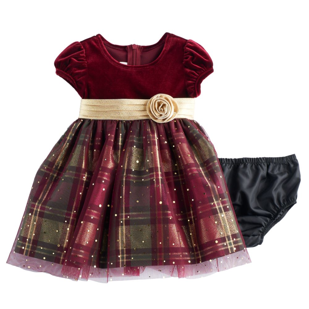 Girl Bonnie Jean Velvet & Plaid Sparkle Dress