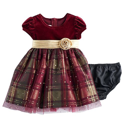 02c24e899a04 Baby Girl Bonnie Jean Velvet & Plaid Sparkle Dress