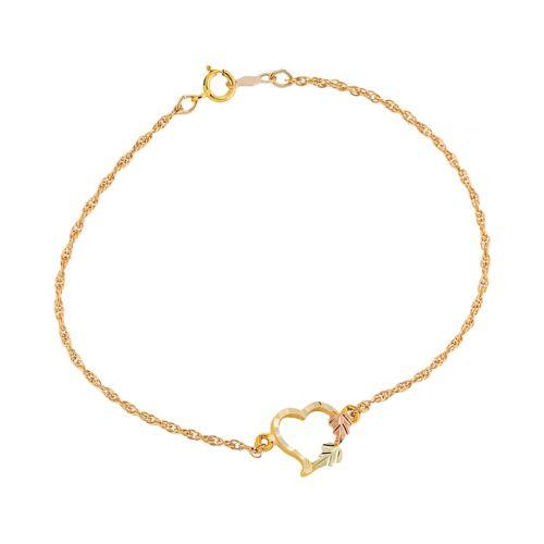 Black Hills Gold Tri Tone Leaf Heart Bracelet by Kohl's