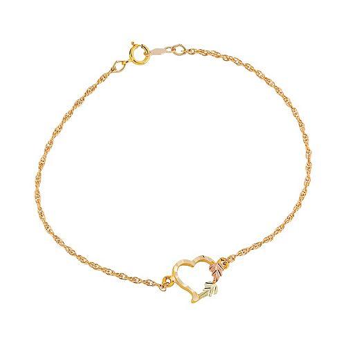 Black Hills Gold Tri Tone Leaf Heart Bracelet