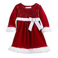 Toddler Girl Bonnie Jean Sequin Bow Santa Dress