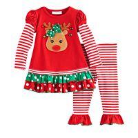 Toddler Girl Bonnie Jean Reindeer Tiered Top & Leggings Set