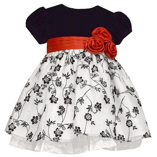 Toddler Girl Bonnie Jean Velvet Floral Dress