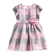 Toddler Girl Bonnie Jean Plaid Sparkle Dress