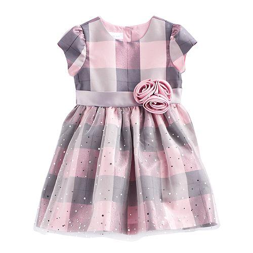 23880ca300c9 Toddler Girl Bonnie Jean Plaid Sparkle Dress
