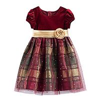Toddler Girl Bonnie Jean Velvet & Plaid Sparkle Dress