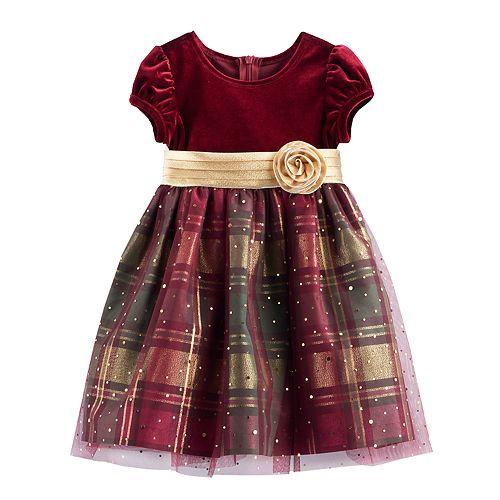 fb2097e55015 Toddler Girl Bonnie Jean Velvet & Plaid Sparkle Dress