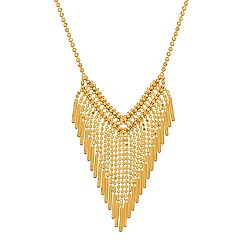 Everlasting Gold 10k Gold Beaded Fringe Statement Necklace